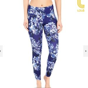 LOLE Navy Floral Palmira Ankle Leggings Small